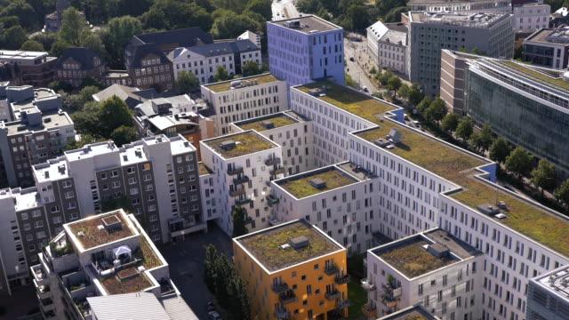 Aerial view of Modern residential buildings in Hamburg, Germany Aerial view of Modern residential buildings in Hamburg, Germany house rental stock videos & royalty-free footage