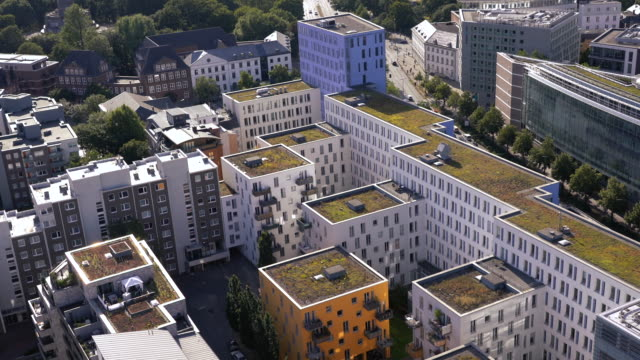 Aerial view of Modern residential buildings in Hamburg, Germany