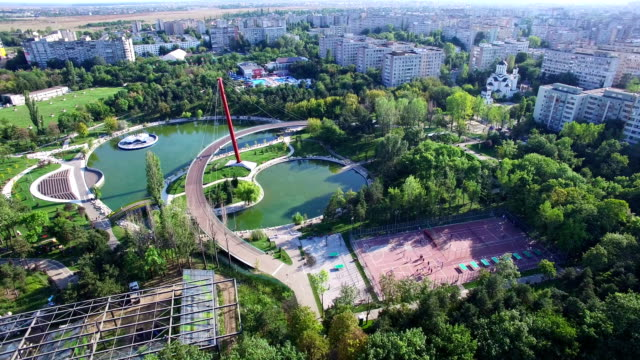 Aerial view of Moghioros park in Bucharest, Romania video