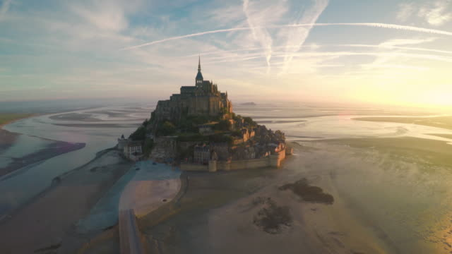 Aerial view of Mont Saint Michel video
