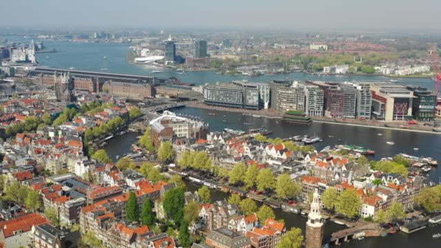 flyg foto över montelbaanstoren tower och oosterdok - drone amsterdam bildbanksvideor och videomaterial från bakom kulisserna
