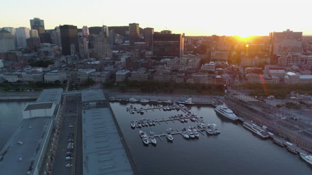 Aerial view of Montreal, with the Old Port