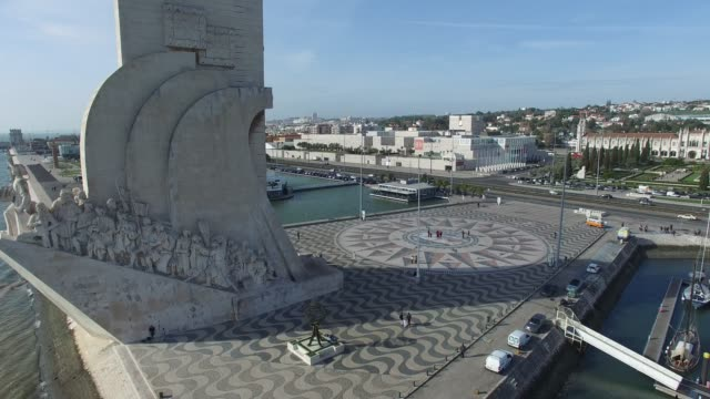 Aerial View of Monument to the discoveries, Lisbon, Portugal video