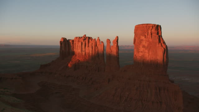 Aerial view of Monument Valley. Monument Valley, Utah circa-2019.  Aerial view of Monument Valley.  Shot from helicopter with Cineflex gimbal and RED 8K camera. wild west stock videos & royalty-free footage