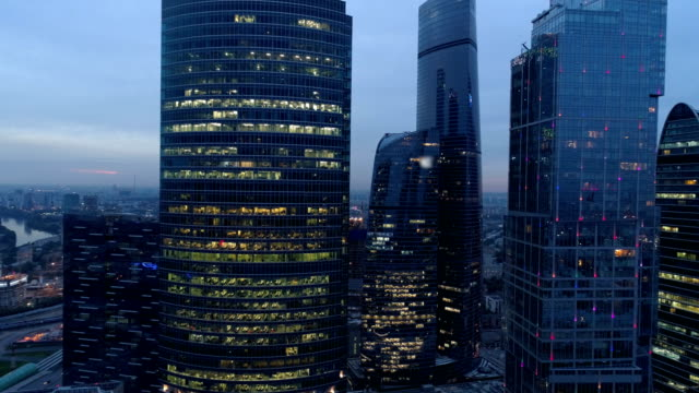 aerial view of moscow international business center at night. - skyscrapers stock videos & royalty-free footage