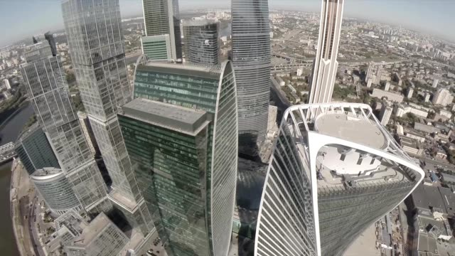 Aerial view of Moscow International Business Center referred to as Moscow City. Moscow City is a well known commercial district in central Moscow, Russia. video