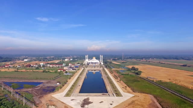 Aerial view of mosque in Thailand video