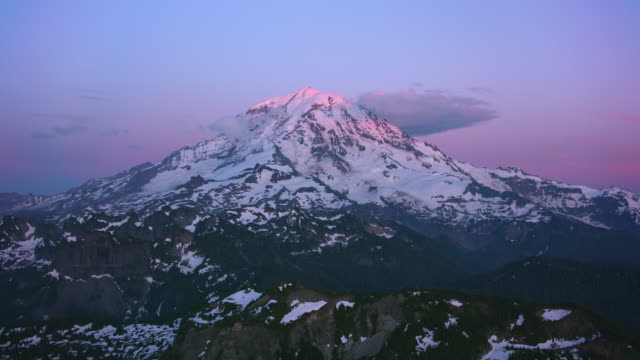 Aerial view of Mount Rainier at sunset.