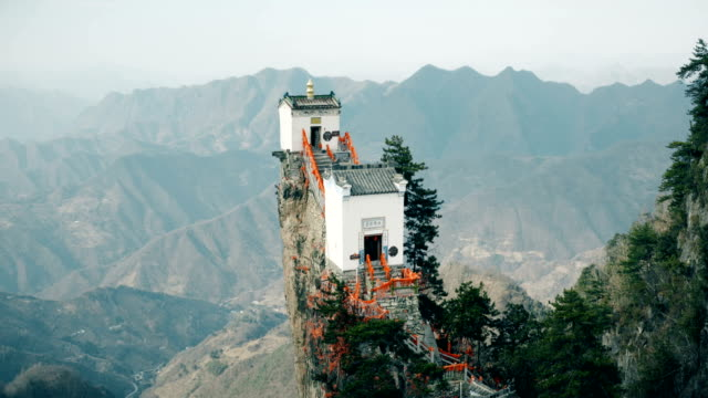 Aerial view of Mount Tayun,A famous Taoist temple in Shaanxi,China.