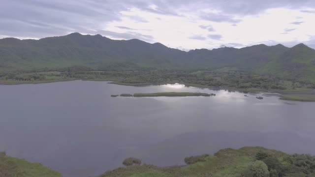 Aerial view of Mountain Range and Beautiful Lake video