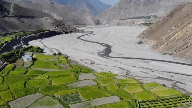 aerial view of mountain valley in the himalayas - mustang video stock e b–roll