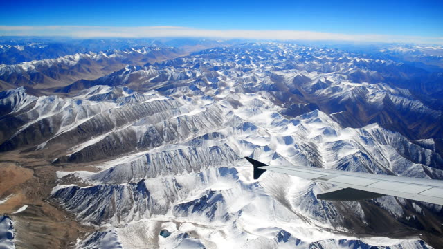 aerial view of mountains and clouds on top Asia video