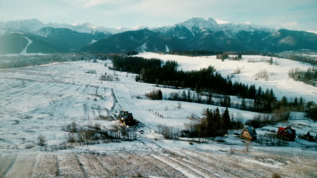 aerial view of mountains in winter - polonia video stock e b–roll