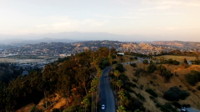 Aerial view of Mt Washington in Los Angeles from Elysian Park video