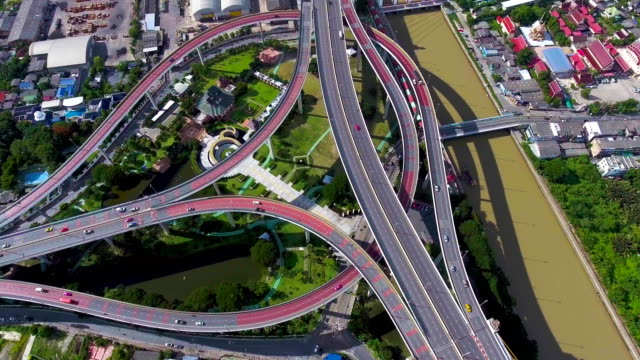 Aerial view of Multiple Crossroad Highway Connect to Bridge, Bangkok, Thailand video