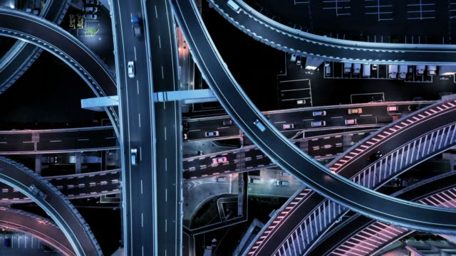 Aerial view of multiple lane highway at night - video