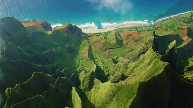 aerial view of napali coast - cliffs stock videos & royalty-free footage