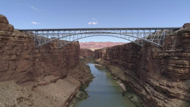 Aerial view of Navajo Bridge and Colorado River