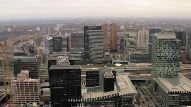 Aerial view of new business area with modern buildings in Amsterdam, Netherlands video
