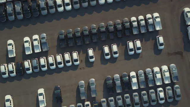 Aerial View of new cars for sale Aerial View of new cars for sale car rental stock videos & royalty-free footage