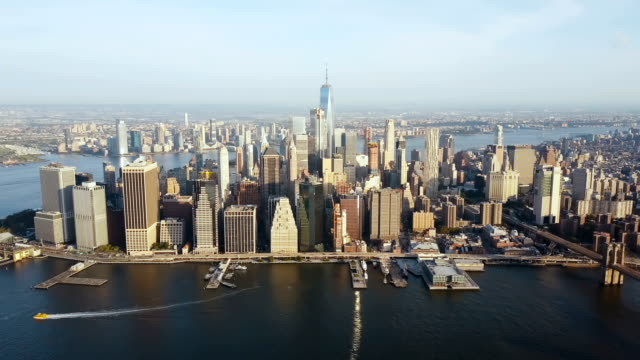 Aerial view of New York, America. Drone flying over the East river and Manhattan downtown on the shore video
