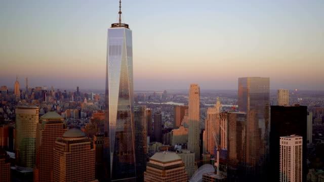 aerial view of new york city skyline metropolis. cityscape establishment shot of high rise buildings