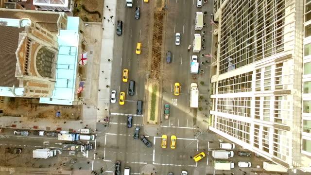Vista aérea de la calle ciudad de Nueva York - vídeo