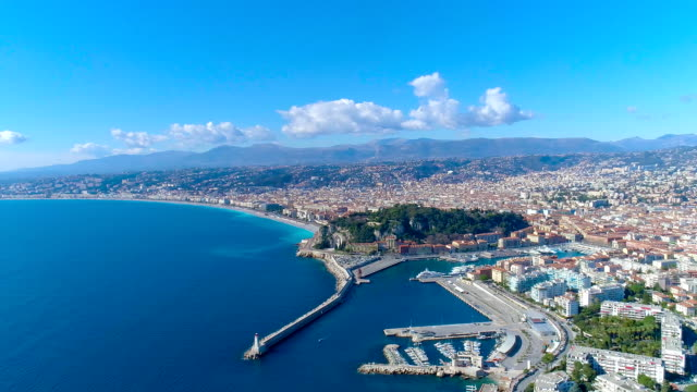 aerial view of nice france promenade, mediterranean sea and airport view . city panorame. drone fullhd video - francja filmów i materiałów b-roll