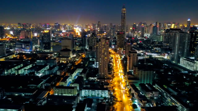 Aerial view of Night City Time-lapse of Bangkok cityscape, Thailand video