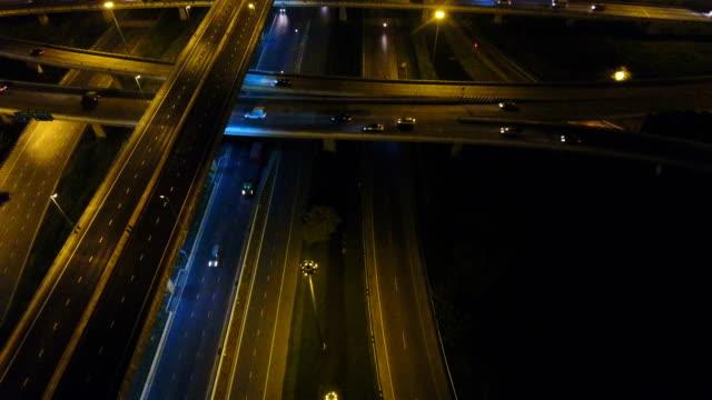 Aerial View of Night Traffic on Highway Junction in Bangkok video