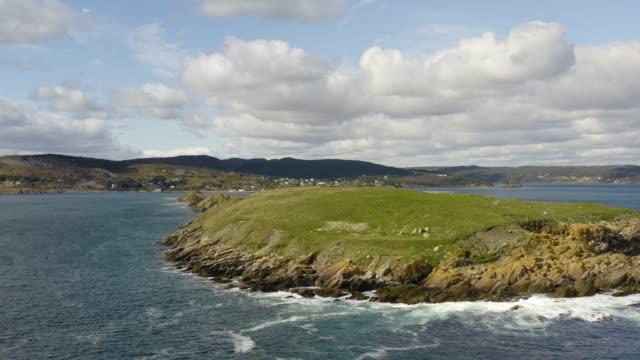 Aerial view of ocean island and coastline in newfoundland