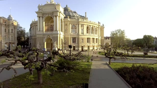 Aerial view of Odessa Opera house in Ukraine video