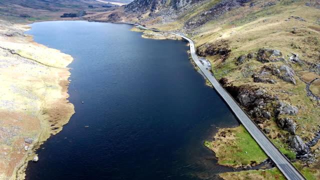 Aerial view of Ogwen valley with Llyn Ogwen in Snowdonia, Gwynedd, North Wales, UK - Great Britain, Europe