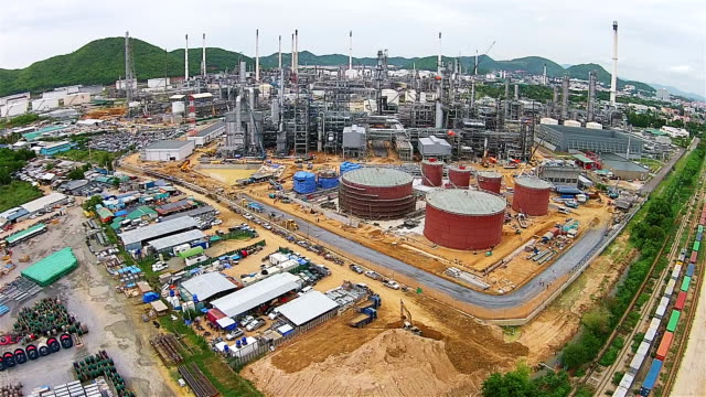 Aerial View of Oil and gas industry refinery of factory,  petrochemical plant. video