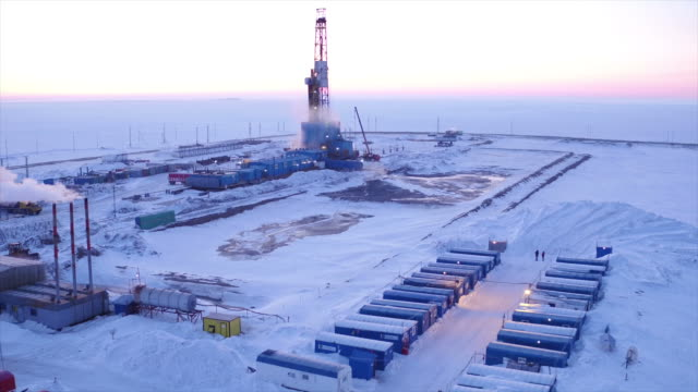 Aerial View Of Oil Drilling at Nord of Western Siberia video