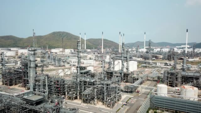 Aerial view of oil industry video