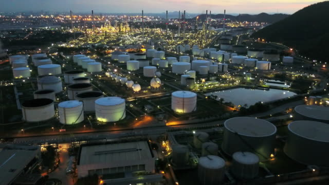 Aerial view of Oil refinery factory in Thailand Aerial view of Oil refinery factory in Thailand production line worker stock videos & royalty-free footage