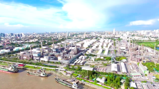 Aerial view of Oil Refinery near River, Bangkok, Thailand video