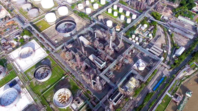 Aerial view of Oil Refinery near River, Bangkok, Thailand video