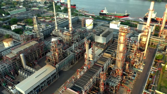 4K Aerial view of oil refinery plant 4K Aerial view of oil refinery plant, Bangkok Thailand, High angle view storage tank stock videos & royalty-free footage