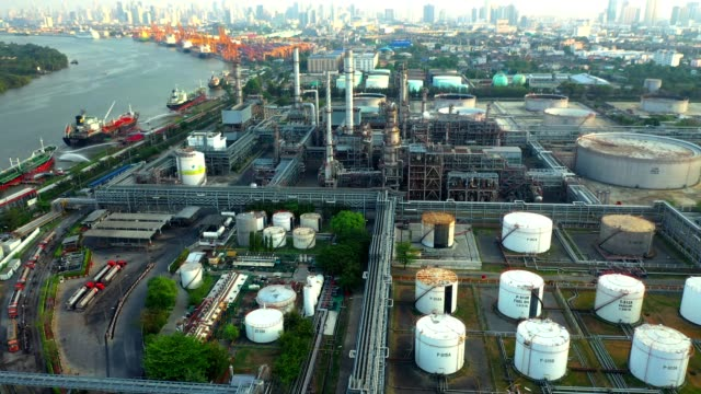 4K Aerial view of oil refinery plant