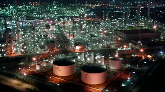 Aerial view of oil refinery plant Refinery, Factory, Aerial View, Oil Refinery gas pipe stock videos & royalty-free footage