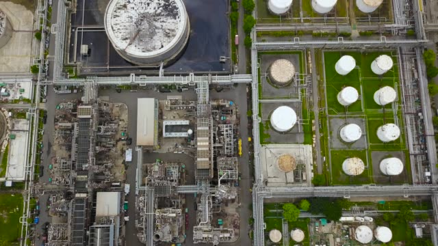 Aerial view of oil refinery plant