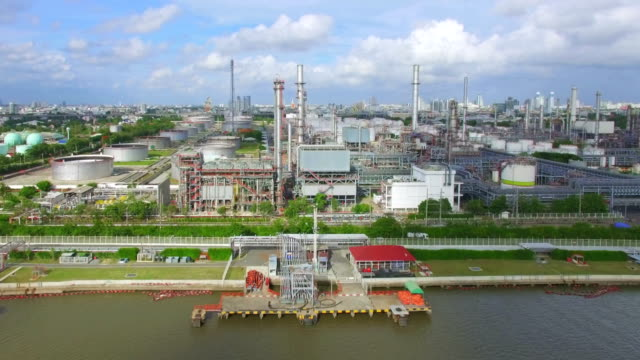 Aerial View of Oil Refinery video