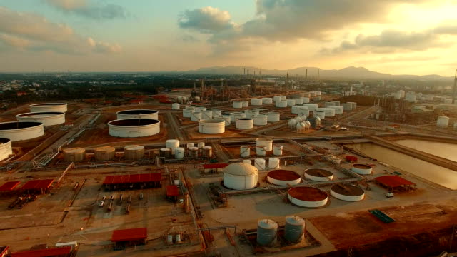 aerial view of oil storage tank in heavy petrochemical industry plant video