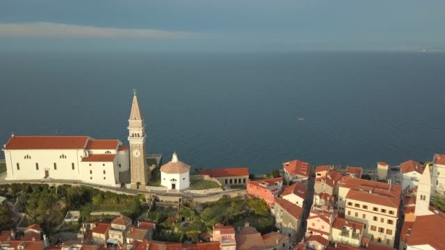 Aerial view of old fishing town Piran in Slovenia. video