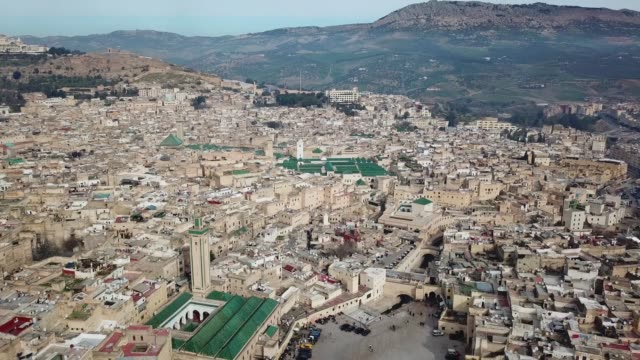 Aerial view of old Medina in Fes, Morocco