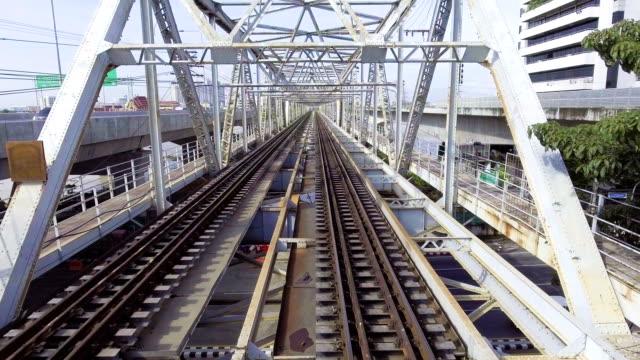 Aerial View of Old Railway Bridge cross River, Dolly shot. video