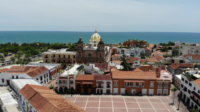 Aerial view of Old town district in Cartagena Colombia