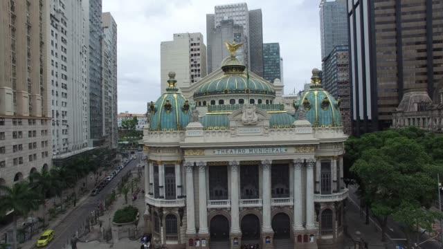 リオデジャネイロのオペラハウスの空中写真 - ブラジル文化点の映像素材/bロール